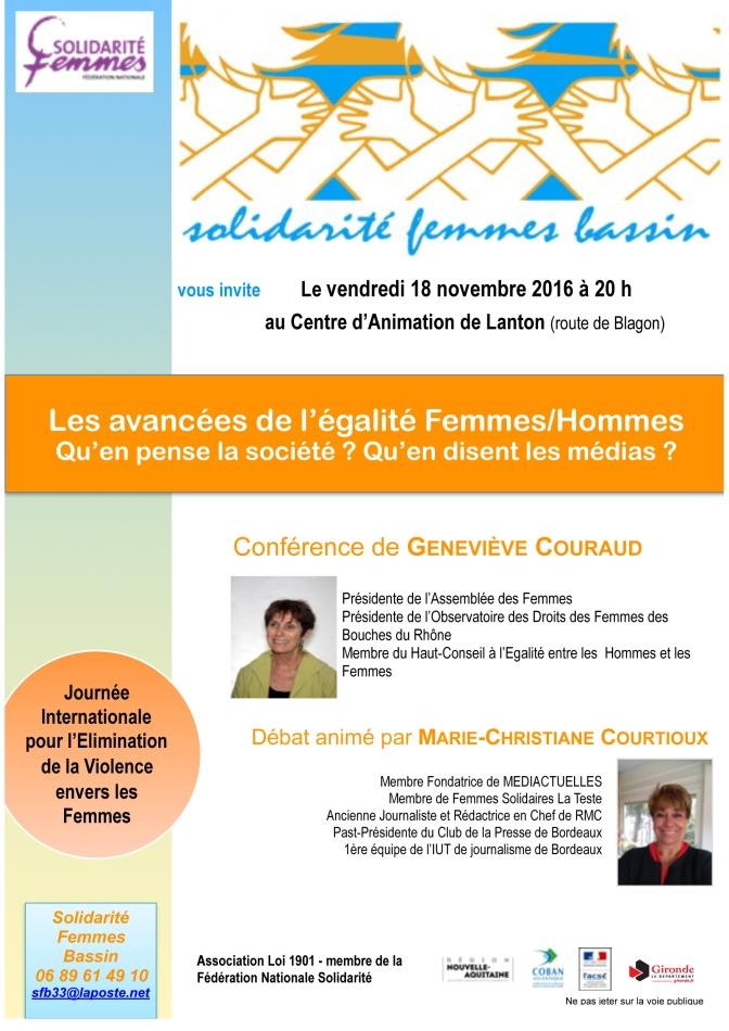 Avancées de l'Egalité, violences faites aux femmes: l'invitation à débattre de Solidarité Femmes Bassin